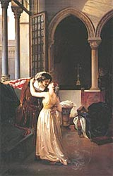 Ромео и Джульетта  -  Romeo's farewell to Juliet (the last kiss), Francesco Hayez, 1833. Milan  -  второй вариант картины