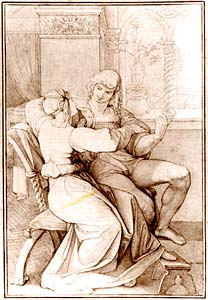 Ромео и Джульетта  -  Romeo and Juliet . Peter Cornelius, 1813.  Copenaghen, Thorvaldsens Museum  (увеличивается)
