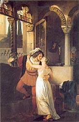 Ромео и Джульетта  -  Romeo's farewell to Juliet (the last kiss) , Francesco Hayez, 1823 .Villa Carlotta, Tremezzo (Como)  -  первый вариант картины