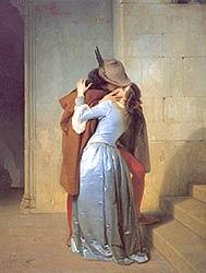 Поцелуй  -  The Kiss, Francesco Hayez, 1859, Milan, Pinacoteca di Brera  -  наиболее известный вариант картины