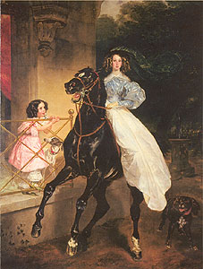 Carl Brulloff, Horsewoman, 1832  (little Amazilia and young Giovannina Paccini)