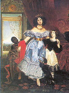 portrait of Countess Julia Samoilova with her adopted daughter Giovannina Paccini and a little Blackamoor , 1832-1834 , Carl Brulloff