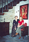 The first floor of Torreta. Cinzia and Olga under the painting of Olivia