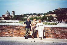 Verona. Romano, Olga and Cinzia at the bridge called Ponte Pietro in Italian