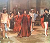 The Capulet's feast  in the film. On the left -  the view of the courtyard of Palazzo Piccolomini