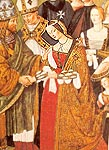 Eleonora di Aragon on the fresco of Pinturicchio looks like Olivia dressed for the feast. Siena. Piccolomini Library