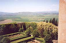Pienza. The view of the garden and Orcia Valley from inside Palazzo Piccolomini