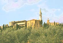 Pienza. The distant view of Palazzo Piccolomini and Cathedral apse