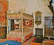 Palazzo Piccolomini. The real interior of  the former bedroom of Pio II