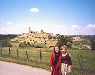 Cinzia and Olga on the background of San Pietro hill in Tuscania